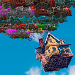 Image of the house from the movie 'Up!' being lifted by a bunch of Factorio locomotives