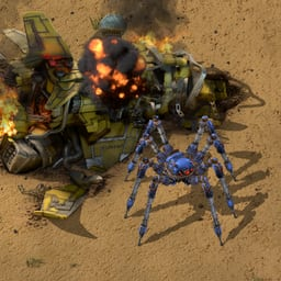 A Spidertron stands next to the crash site