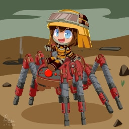 Fanart of a cute engineer riding the new spidertron