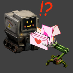 Image of Compilatron being handed a love letter by an inserter
